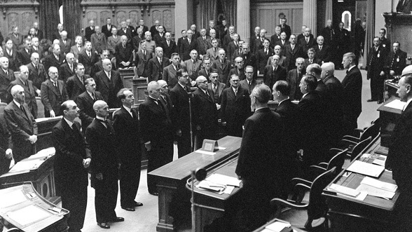 The first SP federal councillor, Ernst Nobs, was elected in 1943. This was the first time that all the strongest political parties were represented in the Federal Council.