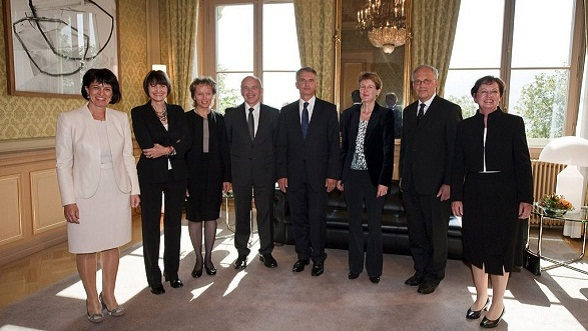 Majority of women in the Federal Council. With the election of Simonetta Sommaruga on 22 September 2010, four women were represented in the Federal Council for the first time. From left to right, President Doris Leuthard, Micheline Calmy-Rey, Eveline Widmer-Schlumpf, Ueli Maurer, Didier Burkhalter, Simonetta Sommaruga and Johann Schneider-Ammann, and Federal Chancellor Corina Casanova.