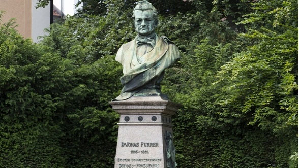 Monument of the first President of the Swiss Confederation Jonas Furrer (1805-1861) in Winterthur